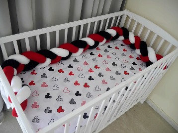 Braided Cot Bumper WHITE- RED- BLACK