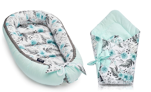 JUKKI NEST AND SWADDLE SET -mint flowers