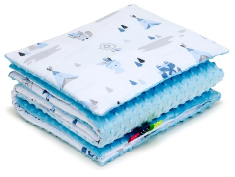 SNUGGLE MINKY BEDDING SET Sewn in filling –INDIAN&BLUE