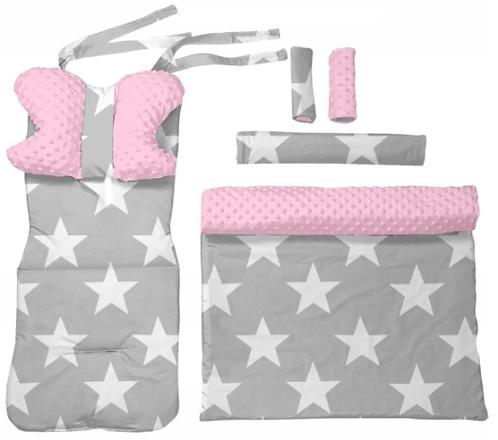 Pink minky & big  stars 6 pcs linner set