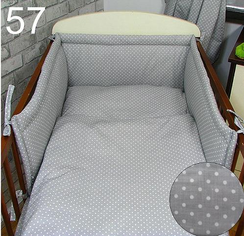 3 Pcs Cot Bedding Set- Grey&Dots