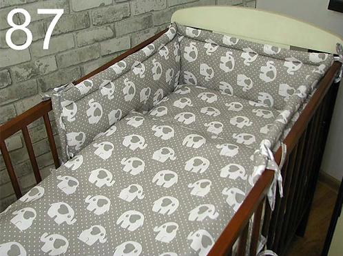 3 Pcs Cot Bedding Set- Grey& Elephants
