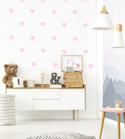 """Decowall """" Pink Hearts"""" wall stickers"""