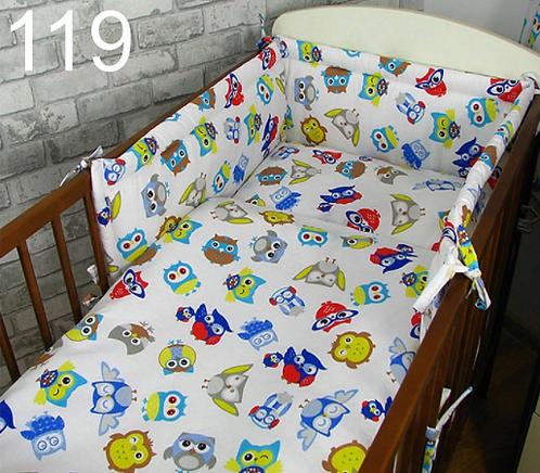 3 Pcs Cot Bedding Set- Owls Boys Edition