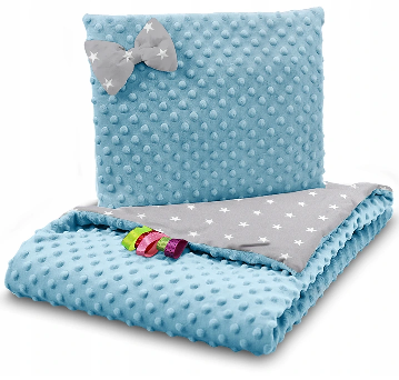SNUGGLE MINKY BEDDING SET – BLUE&GRAY STARS