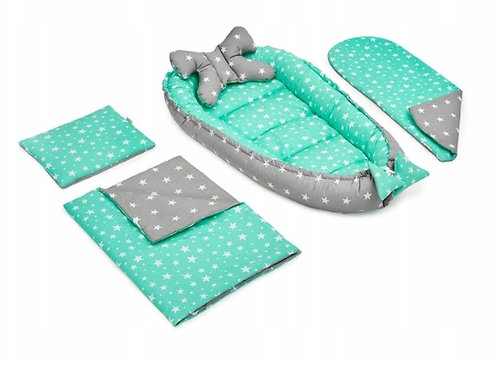 JUKKI MINT STARS - Baby Nest Set - 5 Pcs