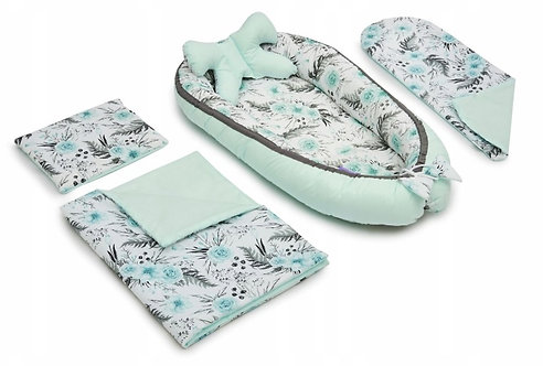 JUKKI BLUE FLOWERS - Baby Nest Set - 5 Pcs