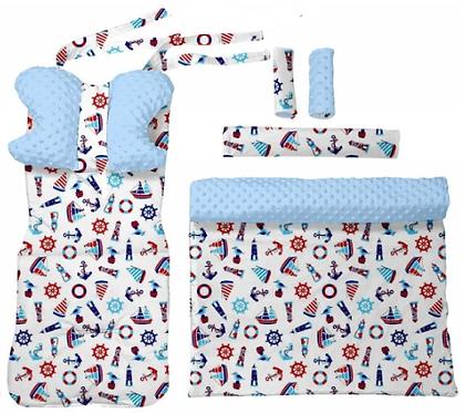 Blue minky & sea 6 pcs linner set