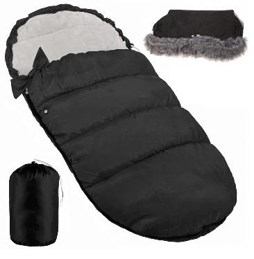 "Footmuff ""SPRINGOS""with handmuff and carry bag BLACK"