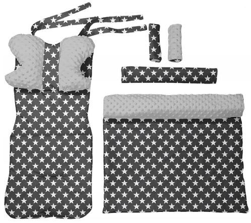 Gray minky & small  stars 6 pcs linner set
