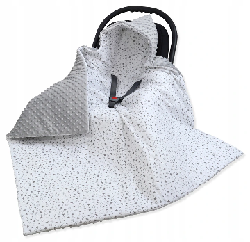 Large Hooded Winter Car Seat Blanket LIGHT GRAY&TINY STARS