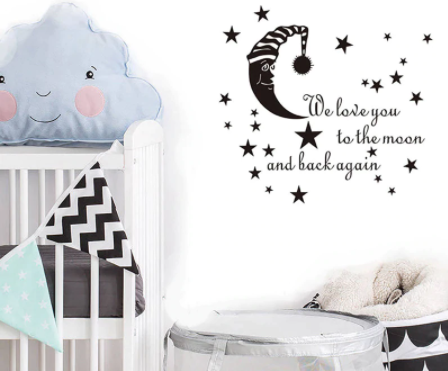 """Decowall """" We love you to the moon and back again"""" wall sticker"""
