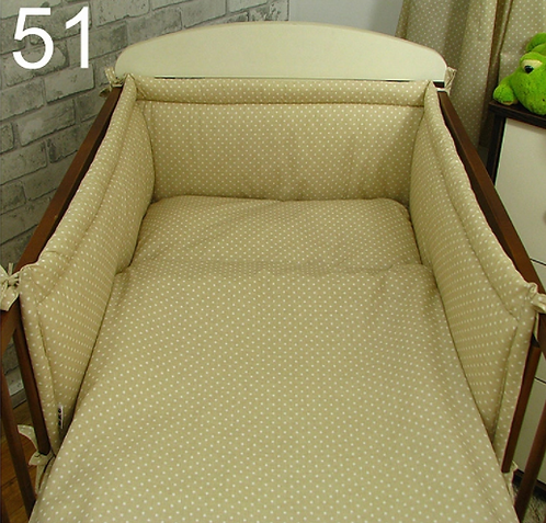 3 Pcs Cot Bedding Set- Cappuccino& Dots