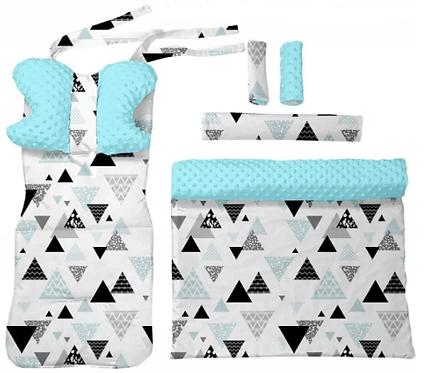 Blue minky & triangles 6 pcs linner set