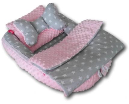 Baby Nest Set - gray stars / pink minky
