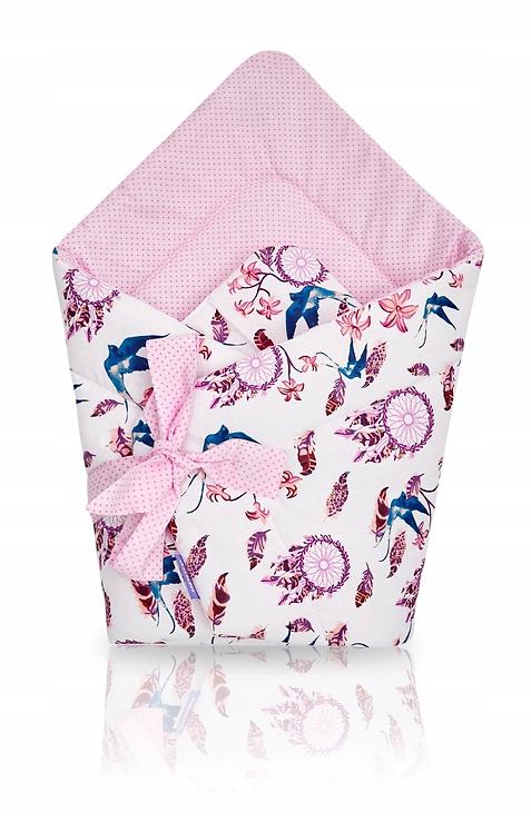 JUKKI swaddle/wrap - pink feathers