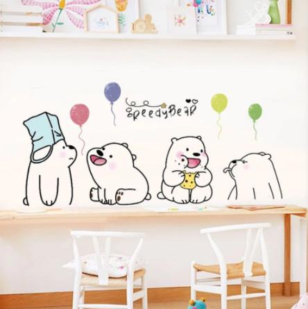 "Decowall "" Cute Lazy Bears "" wall sticker"