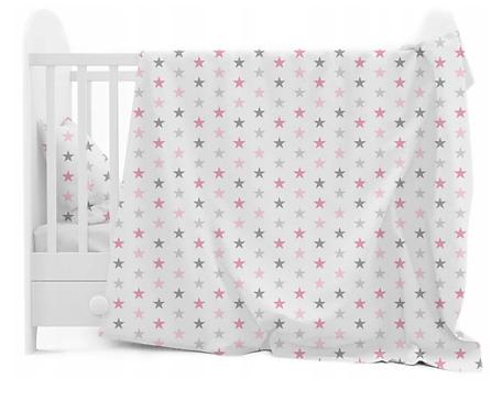 3 pcs Cot Bedding Set- White & Pink Stars