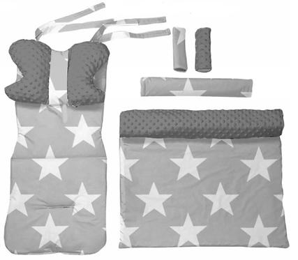 Gray minky & big stars 6 pcs linner set