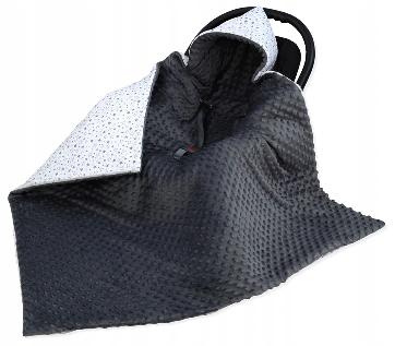 Large Hooded Winter Car Seat Blanket DARK GRAY&TINY STARS