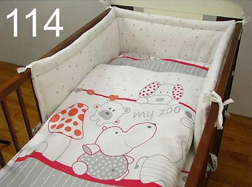 3 Pcs Cot Bedding Set- My ZOO Red Edition