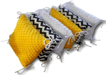 PREMIUM PILLOW BUMPER YELLOW MINKY-ZIG ZAG-WHITE MINKY