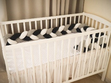 Braided Cot Bumper WHITE-BLACK -GRAY