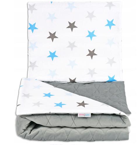 QUILTED VELVET  BEDDING SET - GRAY& BLUE STARS