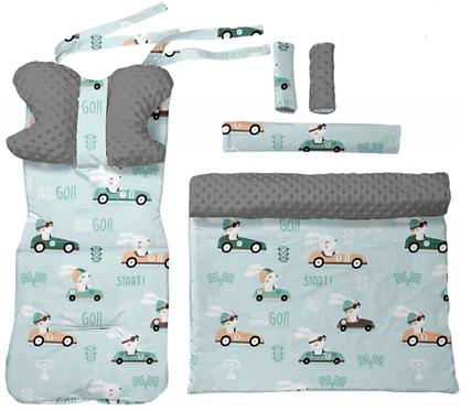 Gray minky & bunny in car  6 pcs linner set
