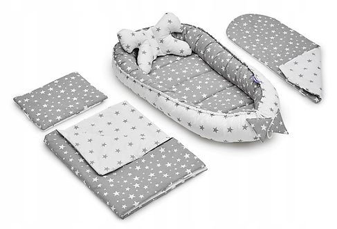 JUKKI GRAY STARS - Baby Nest Set - 5 Pcs