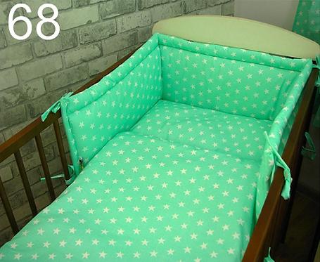 3 Pcs Cot Bedding Set- Mint&White Stars