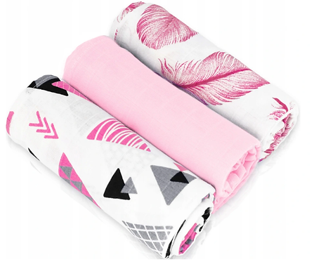 Muslin Cloths (3 pcs) -  pink triangles / gray / feathers