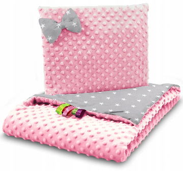 SNUGGLE MINKY BEDDING SET – PINK& GRAY STARS