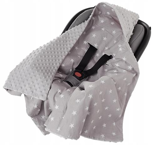 Hooded All-Season Car Seat Blanket GRAY& WHITE STARS