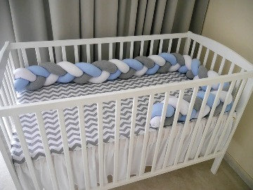 Braided Cot Bumper WHITE-GRAY-BLUE