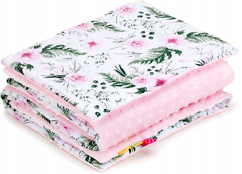 SNUGGLE MINKY BEDDING SET Sewn in filling –PINK&GARDEN