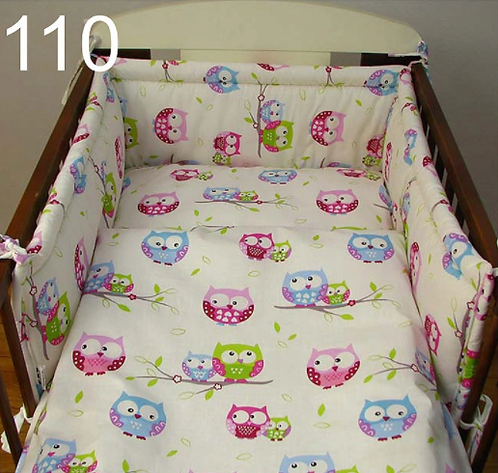 3 Pcs Cot Bedding Set- Owls White Edition