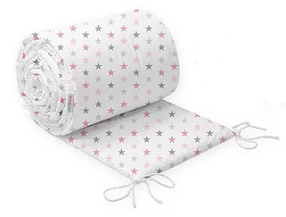 COT BUMPER PROTECTION -PINK&GREY STARS