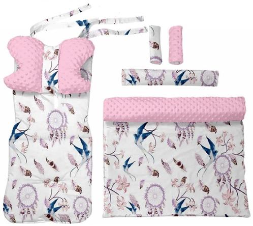 Pink minky & swallows 6 pcs linner set