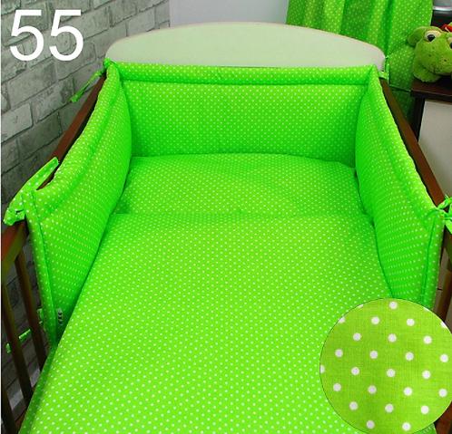3 Pcs Cot Bedding Set- Green&Dots