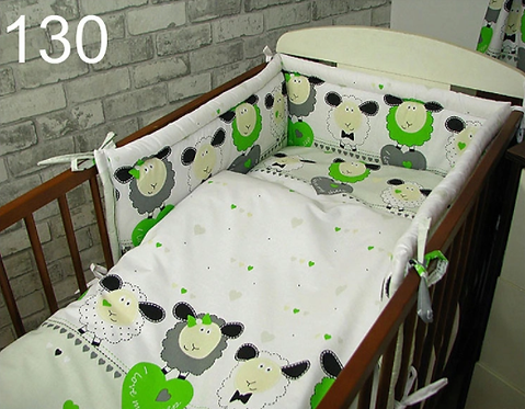 3 Pcs Cot Bedding Set- Sheep Green Edition