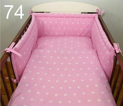 3 Pcs Cot Bedding Set-Pink&White Stars