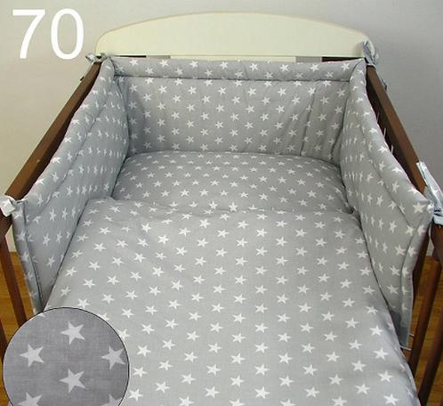 Cot Bedding Set-Grey&White Stars