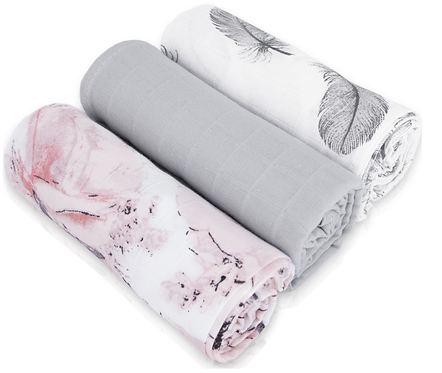 Muslin Cloths (3 pcs) - flowers / gray / feathers