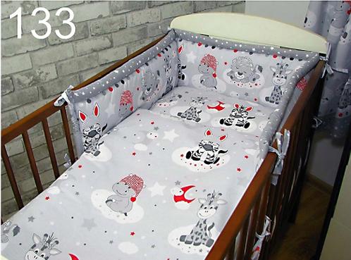 3 Pcs Cot Bedding Set- Hippa Red Edition