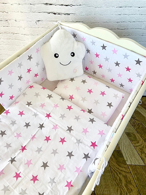 3 pcs Cot Bedding Set- White & Pink Stars