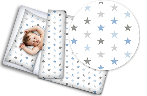 3 pcs Cot Bedding Set- Blue Stars