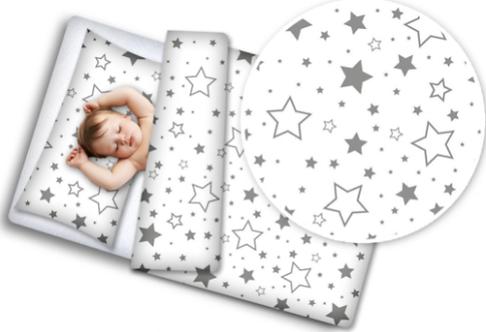 Cot Bedding Set- Big Grey Stars