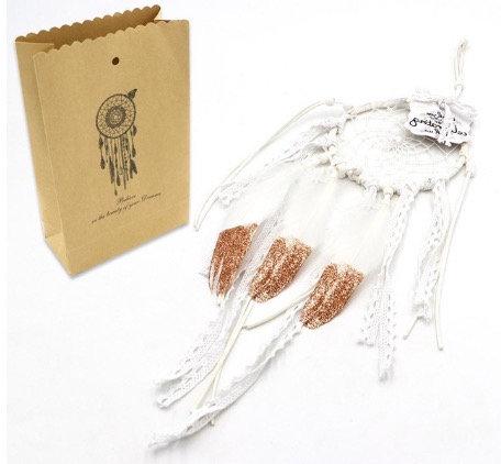 Handmade dreamcatcher - white/gold