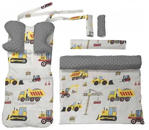 Gray minky & yellow cars  6 pcs linner set